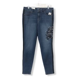 Style & Co. NWT Skinny Jeans Embroidered Floral